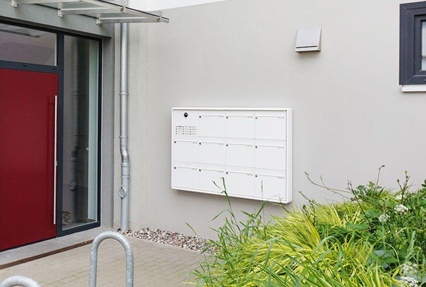 Eingefasste Briefkastenanlagen mit zusätzlichem Funktionsmodul