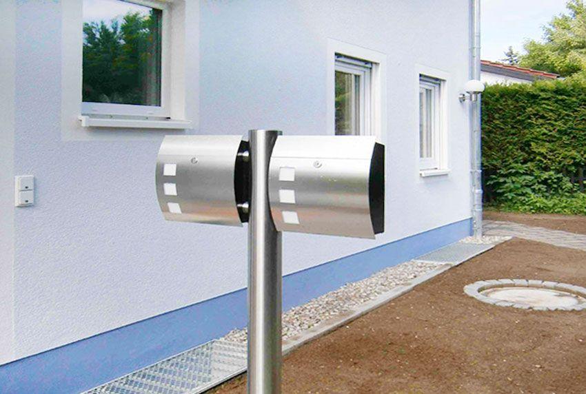 Moderner Zweier-Standbriefkasten aus Edelstahl